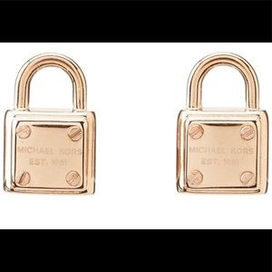 MK GOLD TONE DESIGNER PADLOCK EARRINGS STUDS